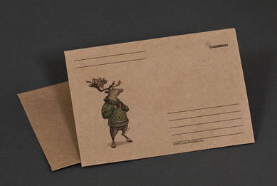Крафт-конверт «Олень в свитере и с кружкой»